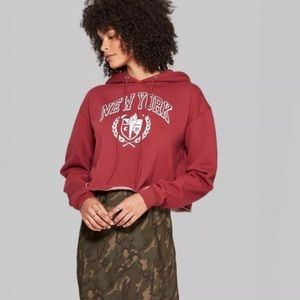 Wild Fable Cropped Raw Hem New York Hoodie